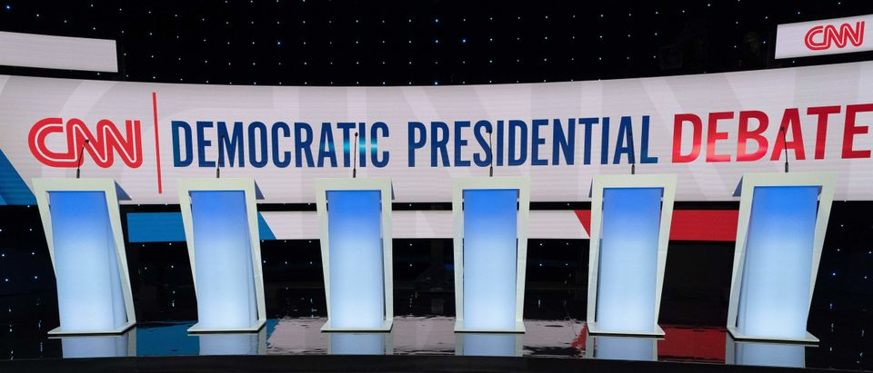 The stage for the seventh Democratic primary debate of the 2020 presidential campaign season co-hosted by CNN and the Des Moines Register at the Drake University campus in Des Moines, Iowa on January 14, 2020. (Photo by KEREM YUCEL/AFP via Getty Images)