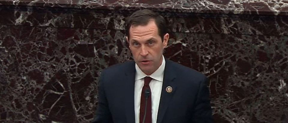 In this screengrab taken from a Senate Television webcast, House impeachment manager Rep. Jason Crow (D-CO) speaks during impeachment proceedings against U.S. President Donald Trump in the Senate at the U.S. Capitol on January 21, 2020 in Washington, DC. (Senate Television via Getty Images)