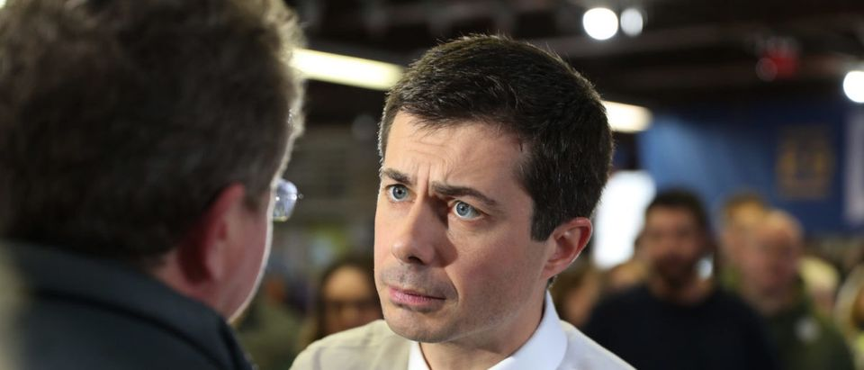 Democratic presidential candidate South Bend, Indiana Mayor Pete Buttigieg greets people during a campaign event in the The Skate Pit on December 29, 2019 in Knoxville, Iowa. (Joe Raedle/Getty Images)