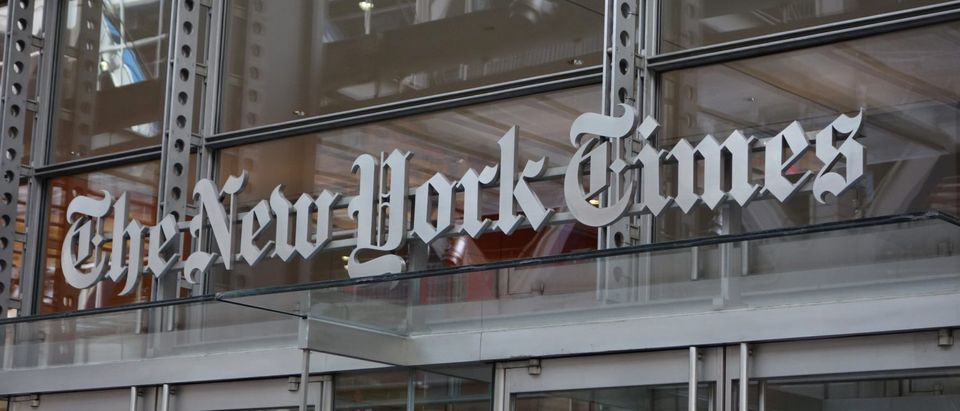 The sign over the west entrance of the New York Times building at 620 Eighth Ave. April 28, 2016 in New York. (DON EMMERT/AFP via Getty Images)