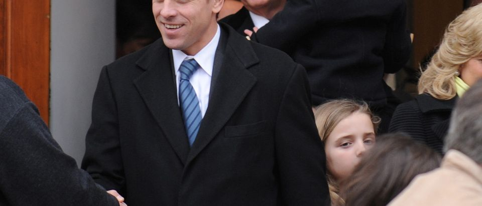 U.S. Vice President Joe Biden and his son Hunter Biden depart after a pre-inauguration church service in Washington, U.S., January 18, 2009. Picture taken January 18, 2009. REUTERS/Jonathan Ernst