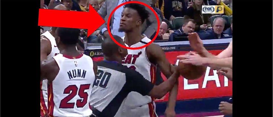Jimmy Butler (Credit: Screenshot/Twitter Video https://twitter.com/sportscenter/status/1215084420392157186?s=21)