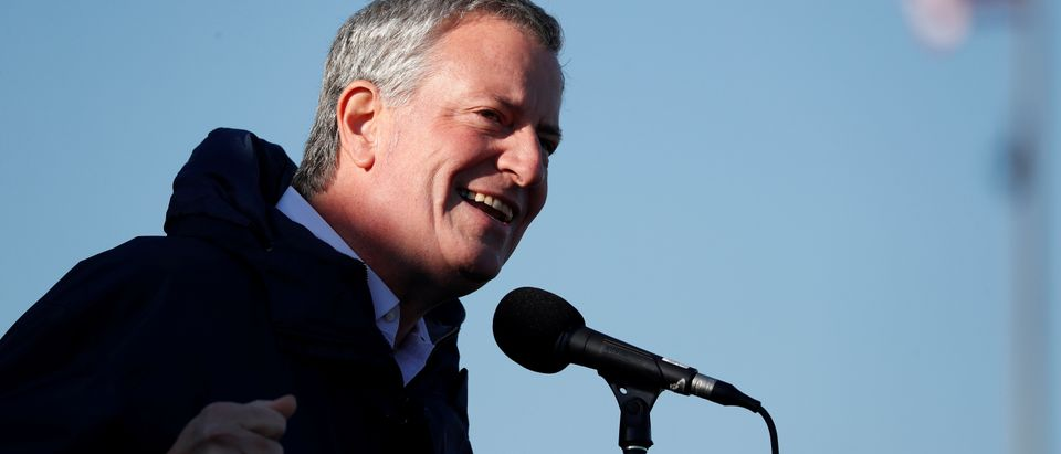 New York City Mayor Bill de Blasio speaks before the start of the men's race REUTERS/Mark Kauzlarich