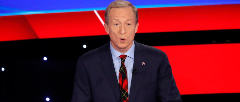 billionaire activist Tom Steyer speaks during the seventh Democratic 2020 presidential debate at Drake University in Des Moines, Iowa, U.S.