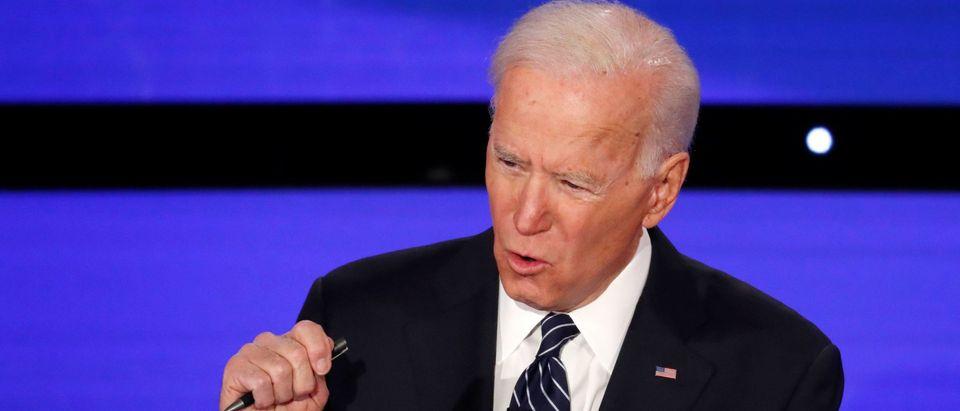 Democratic 2020 U.S. presidential candidate former Vice President Joe Biden speaks at the seventh Democratic 2020 presidential debate at Drake University in Des Moines