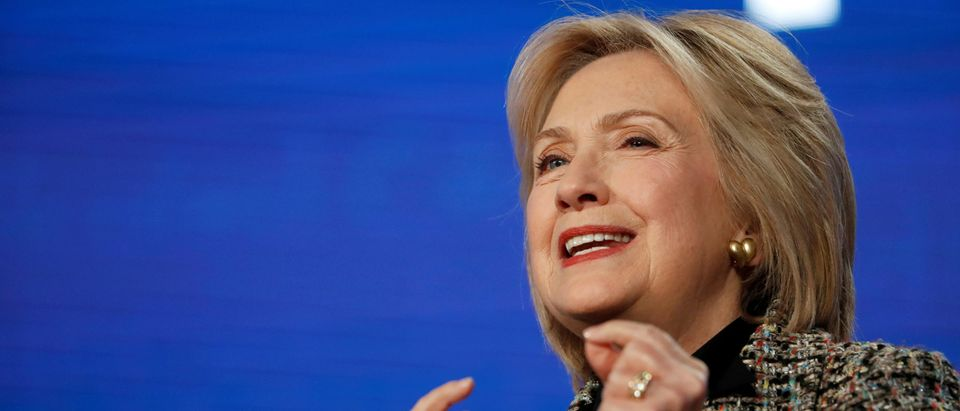 """FILE PHOTO: Former U.S. Secretary of State Clinton speaks at a panel for the Hulu documentary """"Hillary"""" during the Winter TCA (Television Critics Association) Press Tour in Pasadena"""