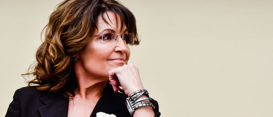 Former Governor Sarah Palin speaks on a Capitol Hill panel on April 14, 2016. (Kris Connor/Getty Images)