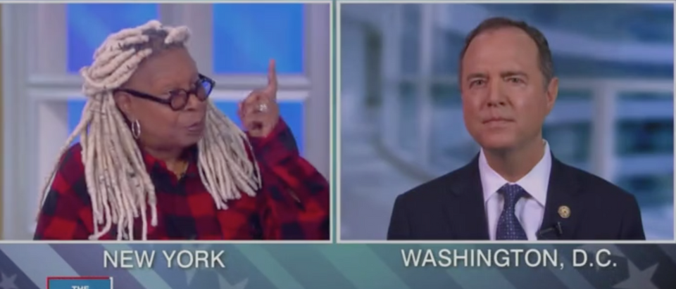 """Whoopi Goldberg and Rep. Adam Schiff appear on """"The View."""" Screen Shot/ABC"""