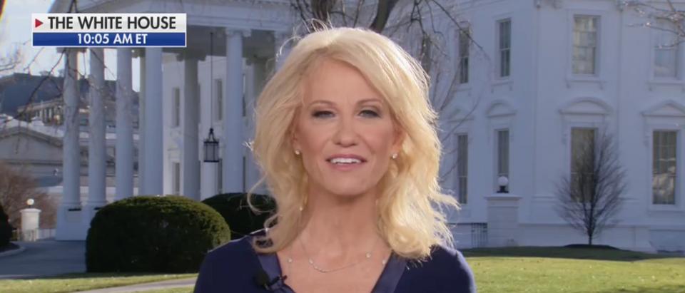 Kellyanne Conway ripped Nancy Pelosi over the impeachment pens Thursday. (Screenshot Fox News, America's Newsroom)