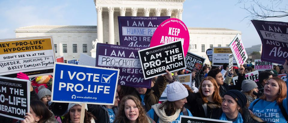 Pro-life demonstrators outside the Supreme Court at the March for Life on Jan. 18, 2019. (Saul Loeb/AFP/Getty Images)