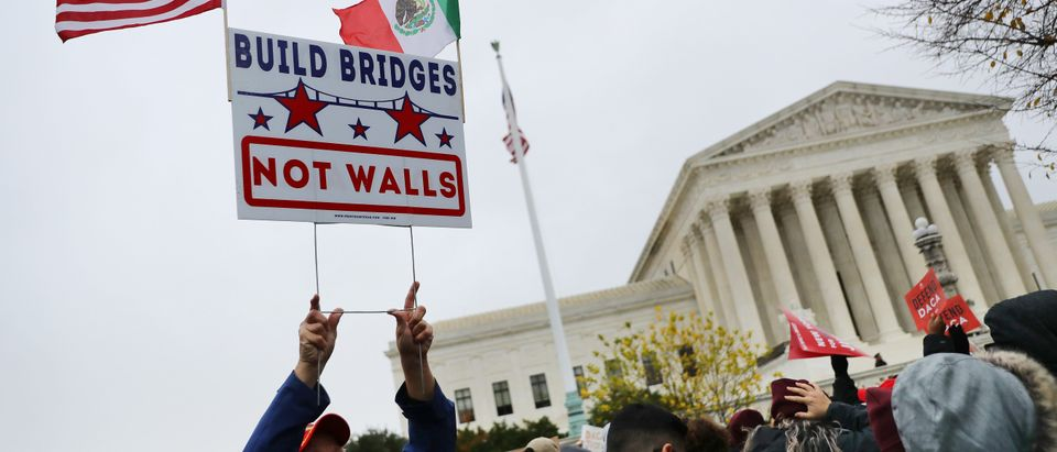 Pro-immigration demonstrators are outside the Supreme Court on Nov. 12, 2019. (Chip Somodevilla/Getty Images)