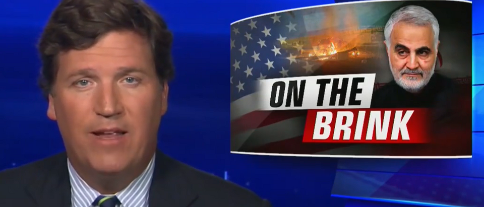 Tucker Carlson warns of war with Iran, slams neocons (Fox News screengrab)