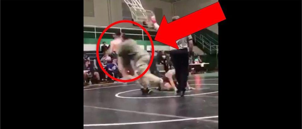 Wrestling Tackle (Credit: Screenshot/ Twitter Video https://twitter.com/wrestlingadvice/status/1219047187096711169)