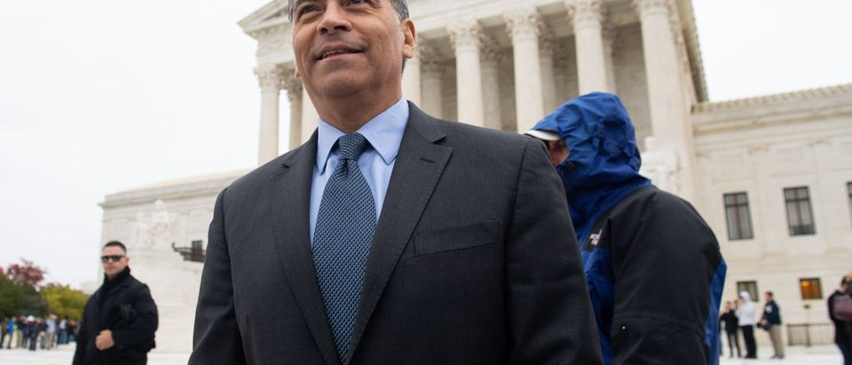 California Attorney General Xavier Becerra speaks outside the Supreme Court on November 12, 2019. (Saul Loeb/AFP/Getty Images)