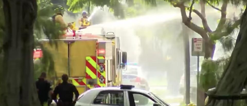 Police respond in Honolulu (YouTube screenshot/MSNBC)