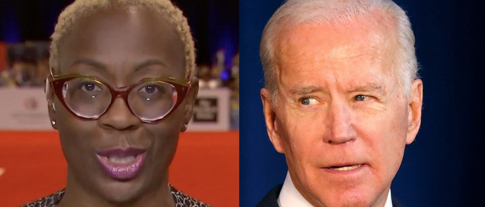 Left: Bernie Sanders campaign national co-chair Nina Turner is pictured. Right: Former Vice President Joe Biden is pictured. (Screenshot/MSNBC; Spencer Platt/Getty Images)