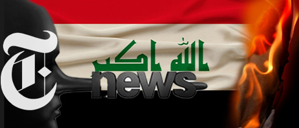 New York Times logo, Iranian flag (Getty Images, Daily Caller)