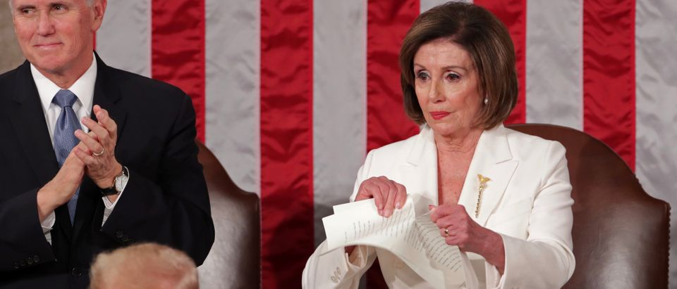 Speaker of the House Nancy Pelosi (D-CA) rips up the speech of U.S. President Donald Trump in Washington