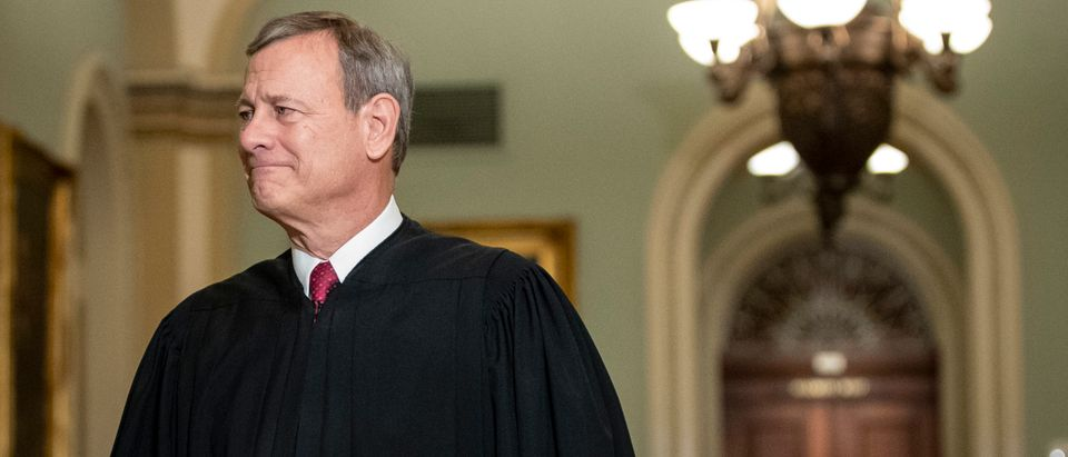 Chief Justice John Roberts arrives to the Senate chamber for impeachment proceedings on Jan. 16, 2020. (Drew Angerer/Getty Images)