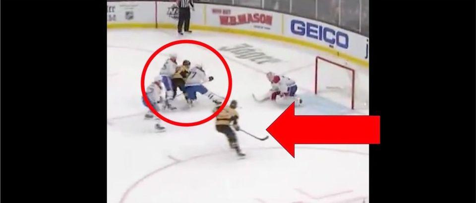 David Pastrnak (Credit: Screenshot/Twitter Video https://twitter.com/NHLBruins/status/1227804248752168960)