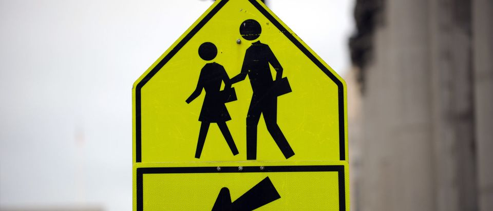 A traffic sign pointing to a pedestrian