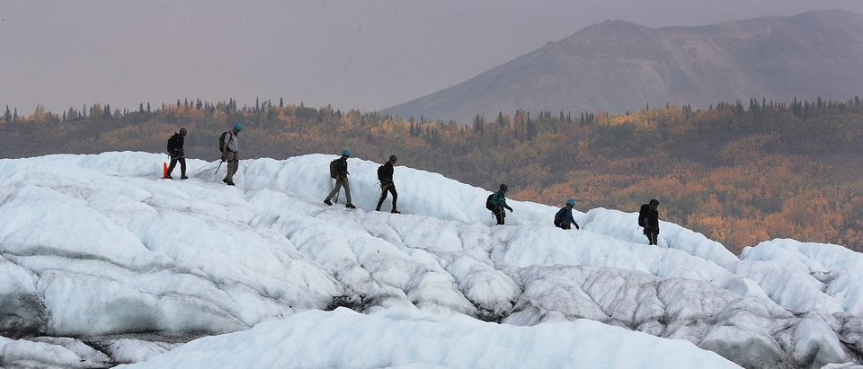 Matanuska Glacier In Alaska Serves As Hiking Destination Near City Of Anchorage