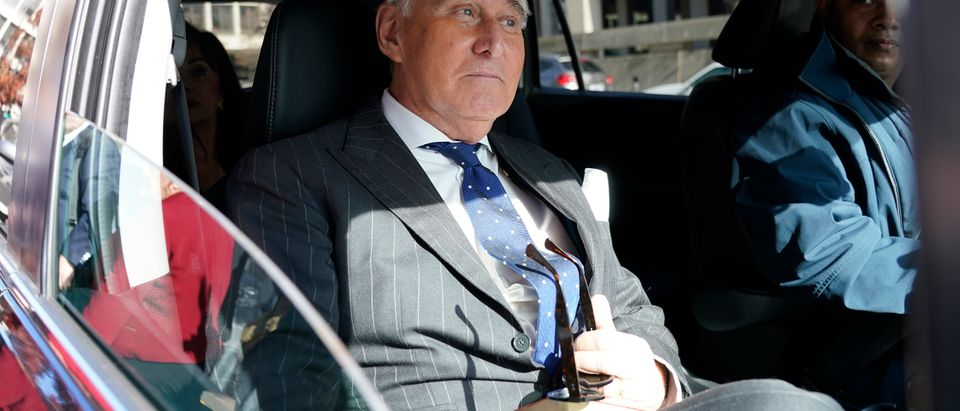Former adviser to U.S. President Donald Trump, Roger Stone, departs the E. Barrett Prettyman United States Courthouse after being found guilty of obstructing a congressional investigation into Russia's interference in the 2016 election on Nov. 15, 2019 in Washington, D.C. (Win McNamee/Getty Images)