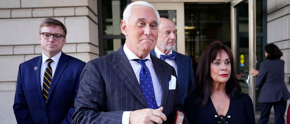WASHINGTON, DC - NOVEMBER 15: Former advisor to U.S. President Donald Trump, Roger Stone (2nd L), departs the E. Barrett Prettyman United States Courthouse with his wife Nydia (R) after being found guilty of obstructing a congressional investigation into Russia's interference in the 2016 election on November 15, 2019 in Washington, DC. Stone faced seven felony charges and was found guilty on all counts. (Photo by Win McNamee/Getty Images)
