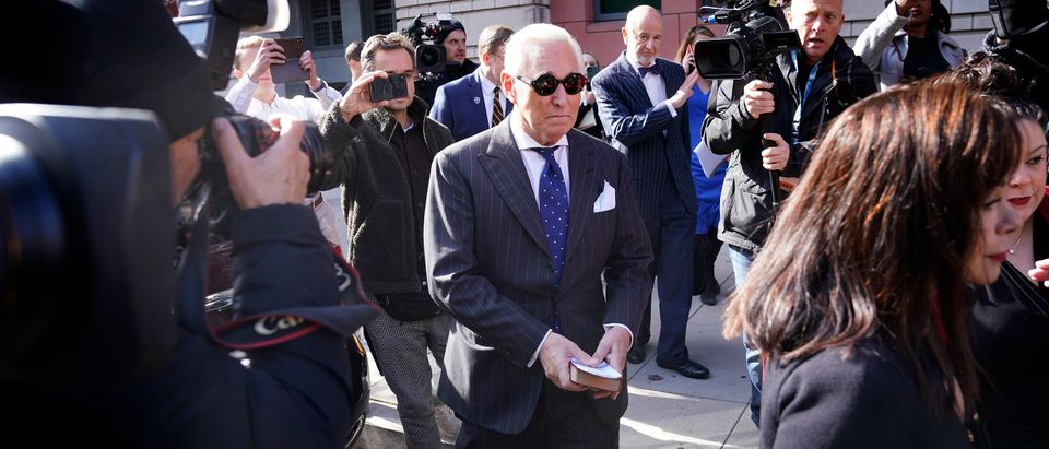 WASHINGTON, DC - NOVEMBER 15: Former advisor to U.S. President Donald Trump, Roger Stone, departs the E. Barrett Prettyman United States Courthouse with his wife Nydia (R) after being found guilty of obstructing a congressional investigation into Russia's interference in the 2016 election on November 15, 2019 in Washington, DC. Stone faced seven felony charges and was found guilty on all counts. (Photo by Win McNamee/Getty Images)