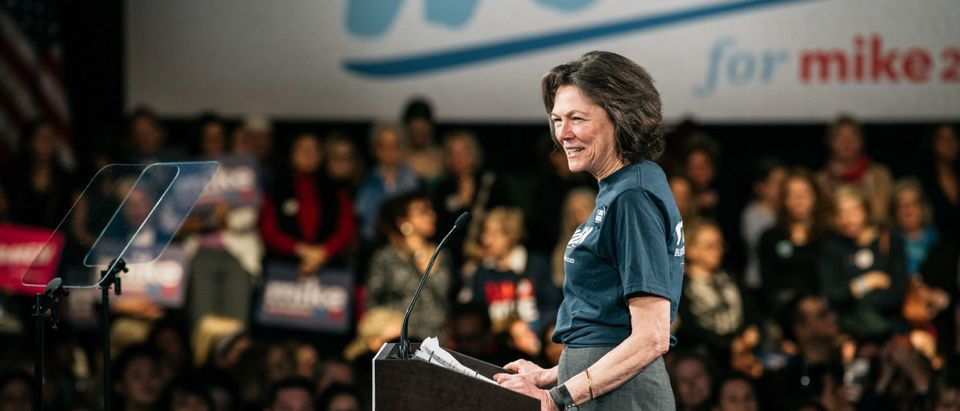 Diana Taylor addresses the crowd during a campaign rally for 2020 Democratic presidential candidate Mike Bloomberg on January 15, 2020 in New York City. (Scott Heins/Getty Images)