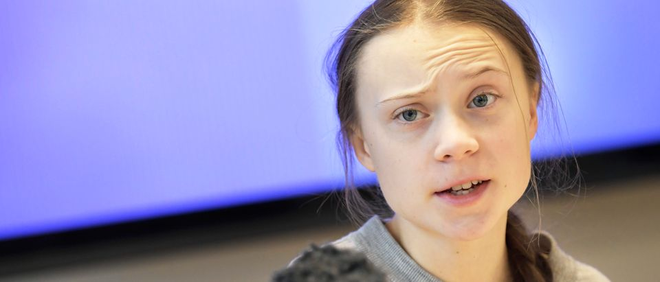 Swedish climate activist Greta Thunberg gives a press conference during a meeting with climate activists and experts from Africa focusing on key environmental threatening of the continent, on January 31, 2020 in Stockholm. (Photo by PONTUS LUNDAHL/TT News Agency/AFP via Getty Images)