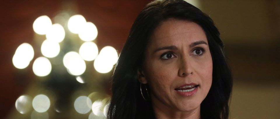 Democratic Presidential hopeful Rep. Tulsi Gabbard (D-HI) participates in a TV interview at the U.S. Capitol January 9, 2020 in Washington, DC. (Alex Wong/Getty Images)