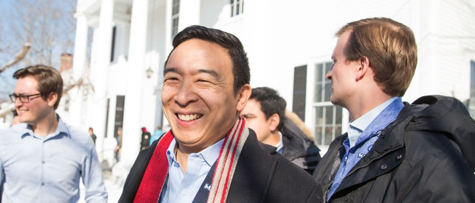 Democratic presidential candidate Andrew Yang exits Hopkinton Town Hall following a campaign event on February 9, 2020 in Hopkinton, New Hampshire. (Scott Eisen/Getty Images)