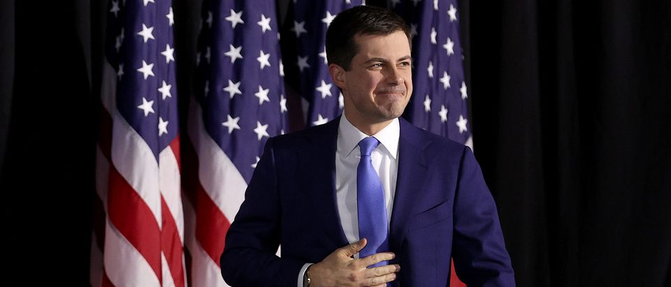 Democratic presidential candidate former South Bend, Indiana Mayor Pete Buttigieg arrives at a watch party at Drake University on February 03, 2020 in Des Moines, Iowa. (Win McNamee/Getty Images)