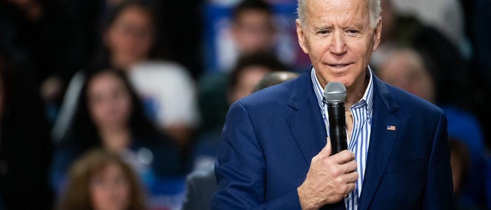 SPARTANBURG, SC - FEBRUARY 28: Democratic presidential candidate former Vice President Joe Biden addresses a crowd during a campaign event at Wofford University February 28, 2020 in Spartanburg, South Carolina. South Carolinians will vote in the Democratic presidential primary tomorrow. (Photo by Sean Rayford/Getty Images)