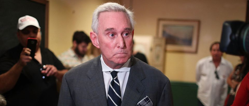 "Roger Stone, a longtime political adviser and friend to President Donald Trump, speaks during a visit to the Women's Republican Club of Miami, Federated before signing copies of his book ""The Making of the President 2016"" at the John Martin's Irish Pub and Restaurant on May 22, 2017 in Coral Gables, Florida. (Photo by Joe Raedle/Getty Images)"