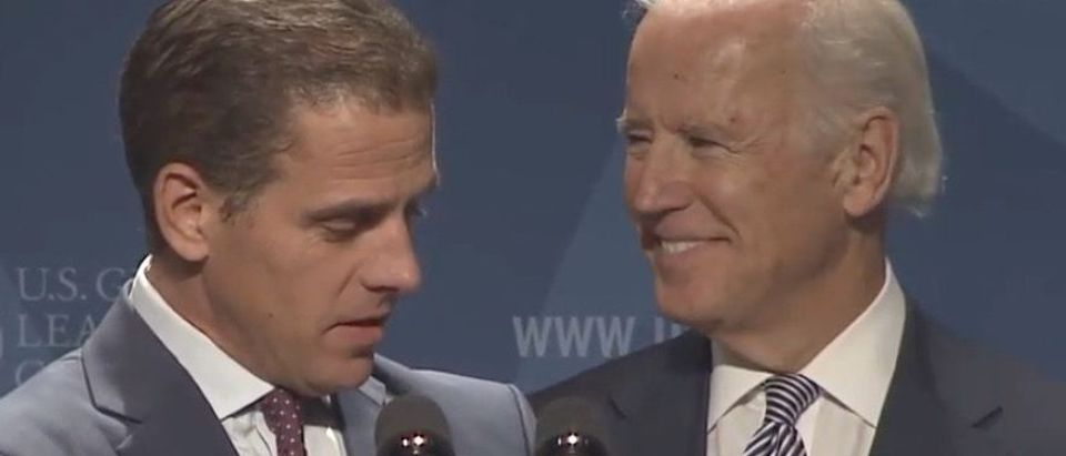 Hunter Biden presents his father, Vice President Joe Biden, with an award at an event hosted Dec. 13, 2013 for the U.S. Global Leadership Coalition. (YouTube screen capture/USGLC)