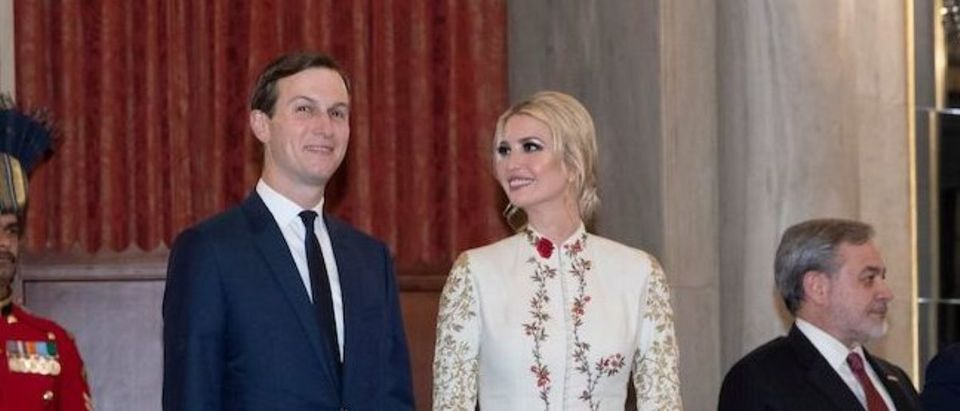 White House senior advisers Ivanka Trump and Jared Kushner (C) arrive for a state banquet at Rashtrapati Bhavan - The Presidential Palace in New Delhi on February 25, 2020. (Photo by ALEX BRANDON/POOL/AFP via Getty Images)