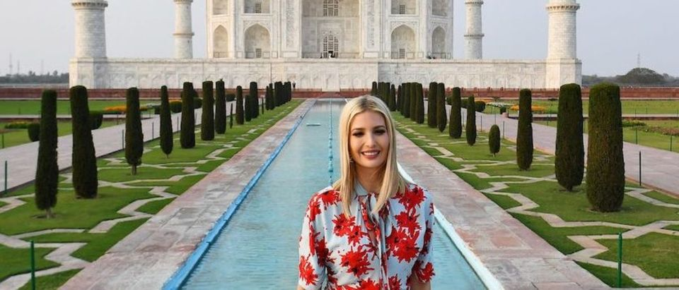 US First Daughter and White House senior advisor Ivanka Trump poses as she visits the Taj Mahal in Agra on February 24, 2020. (Photo by MANDEL NGAN/AFP via Getty Images)