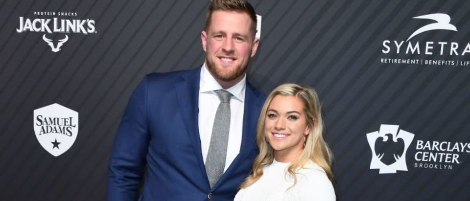J. J. Watt and his girlfriend Kealia Ohai arrive for the 2017 Sports Illustrated Sportsperson of the Year Award Show on December 5, 2017, at Barclays Center in New York City. (Photo credit: ANGELA WEISS/AFP via Getty Images)