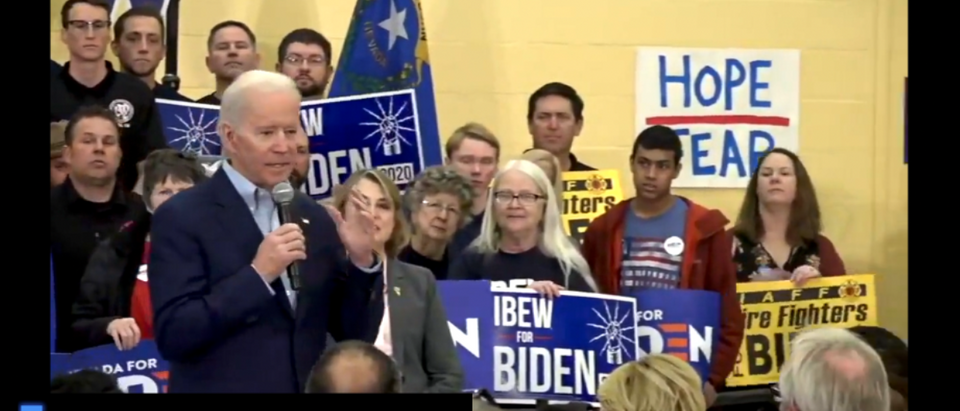 Former Vice President Joe Biden told event-goers Monday in Nevada why he didn't win Iowa's Democratic caucuses. the DCNF