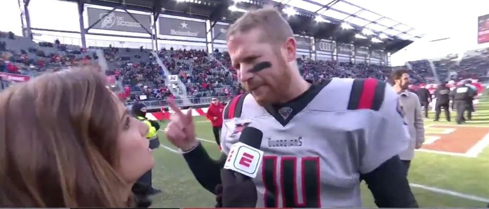 Matt McGloin (Credit: Screenshot/Twitter Video https://twitter.com/xfl2020/status/1228778507272179712)