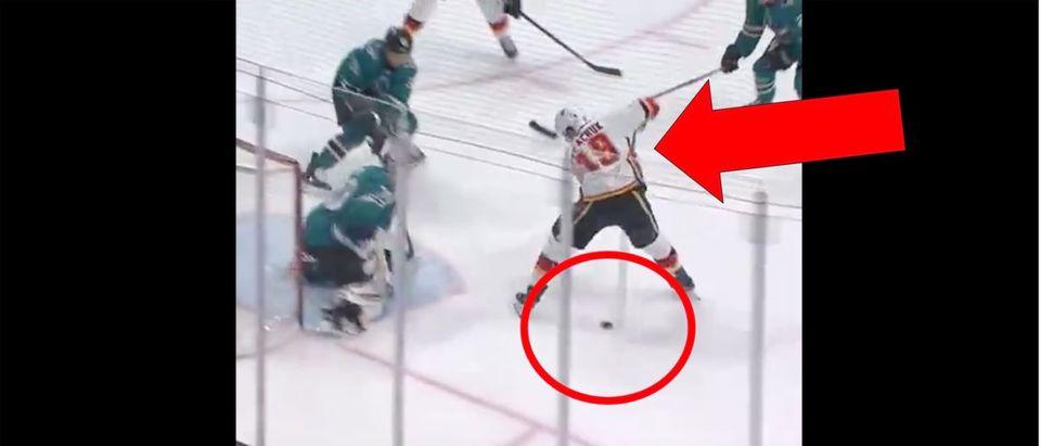 Matthew Tkachuk (Credit: Screenshot/Twitter Video https://twitter.com/NHLFlames/status/1227112526720073728)