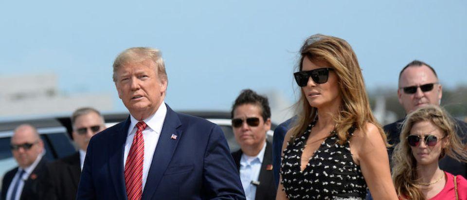 U.S. President Donald Trump and first lady Melania Trump arrive to the NASCAR Daytona 500 in Daytona Beach, Florida, U.S., February 16, 2020. REUTERS/Erin Scott