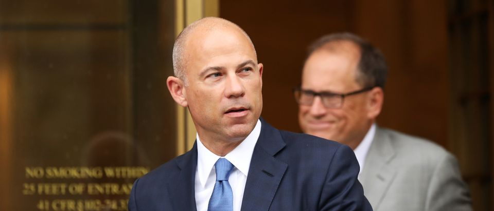 Celebrity attorney Michael Avenatti walks out of a New York court house after a hearing in a case where he is accused of stealing $300,000 from a former client, adult-film actress Stormy Daniels on July 23, 2019 in New York City. (Photo by Spencer Platt/Getty Images)