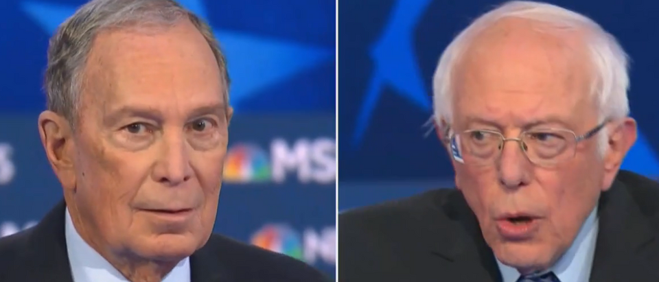 Michael Bloomberg and Bernie Sanders spar over socialism (MSNBC screengrab)