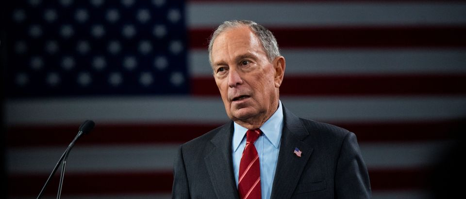 "Democratic U.S. presidential candidate Mike Bloomberg delivers a speech during the campaign event ""Women for Mike"" in the Manhattan borough of New York City"