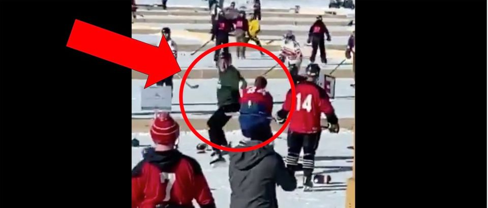 Pond Hockey Fight Video (Credit: Screenshot/Twitter Video https://twitter.com/barstoolsports/status/1227303200660824064?s=21)Pond Hockey Fight Video (Credit: Screenshot/Twitter Video https://twitter.com/barstoolsports/status/1227303200660824064?s=21)