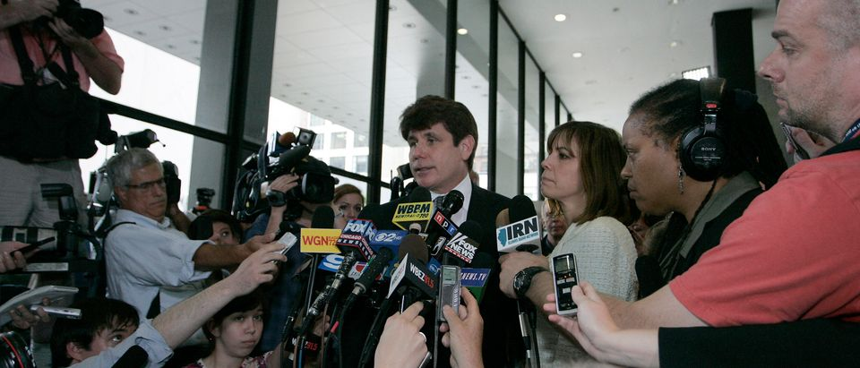 Former Illinois Governor Rod Blagojevich speaks to the media before he leaves the Dirksen Federal building after being convicted on 17 of 20 counts in his second corruption trial in Chicago