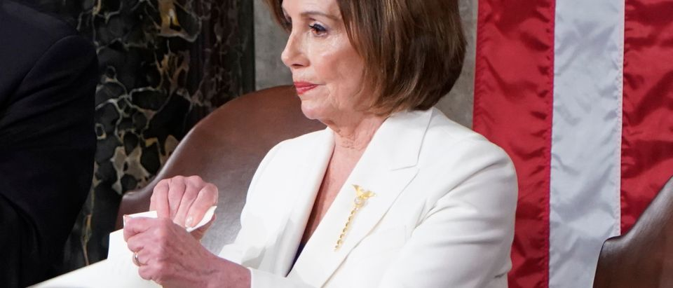 Speaker of the House Nancy Pelosi rips up U.S. President Donald Trump's speech following his State of the Union Address to a joint session of Congress in the House Chamber of the U.S. Capitol in Washington, U.S., Feb. 4, 2020. REUTERS/Joshua Roberts